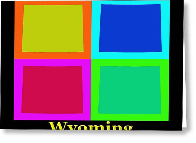Wyoming Greeting Cards - Colorful Wyoming Pop Art Map Greeting Card by Keith Webber Jr