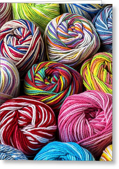 Cotton Balls Greeting Cards - Colorful Yarn Greeting Card by Garry Gay