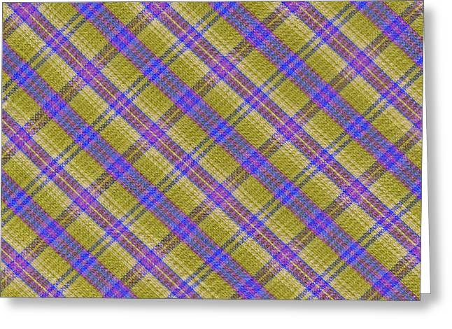 Checked Tablecloths Photographs Greeting Cards - Colorful Yellow and Blue Plaid Textile Background Greeting Card by Keith Webber Jr