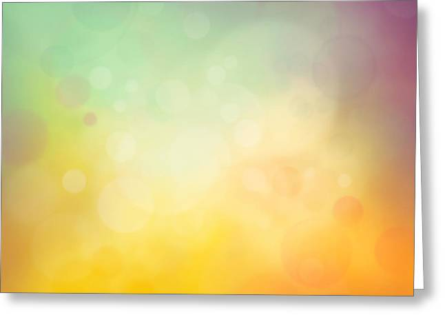 Mythja Greeting Cards - Colorful yellow bokeh background Greeting Card by Mythja  Photography
