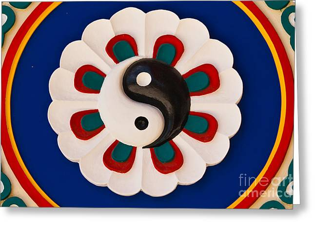 Yang Greeting Cards - Colorful yin-yang sign Greeting Card by Tosporn Preede