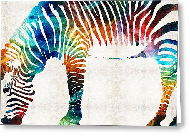 Safari Prints Greeting Cards - Colorful Zebra Art by Sharon Cummings Greeting Card by Sharon Cummings