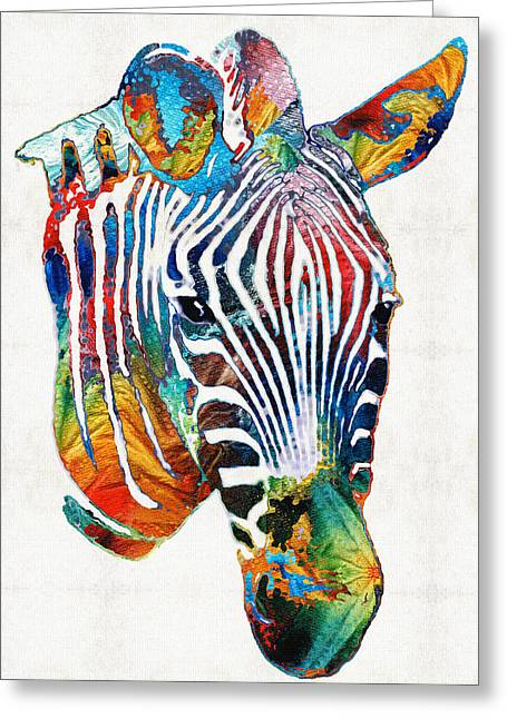 Safari Prints Greeting Cards - Colorful Zebra Face by Sharon Cummings Greeting Card by Sharon Cummings
