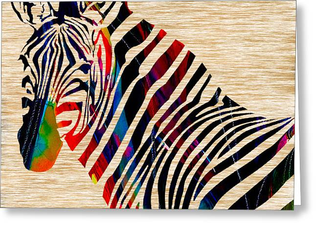 Zebras Greeting Cards - Colorful Zebra Greeting Card by Marvin Blaine
