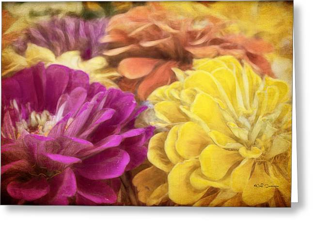 Colorful Zinnias Greeting Card by Jeff Swanson