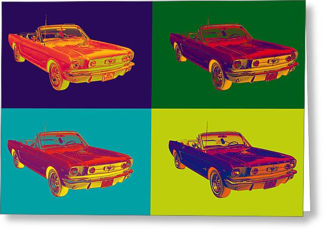 Old Auto Greeting Cards - Colorful1965 Ford Mustang Convertible Pop Art Greeting Card by Keith Webber Jr