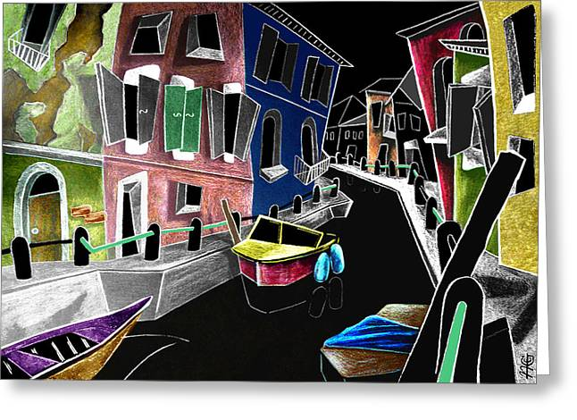 Colori Di Burano - Fine Art Venice Canal Paintings Italy Greeting Card by Arte Venezia