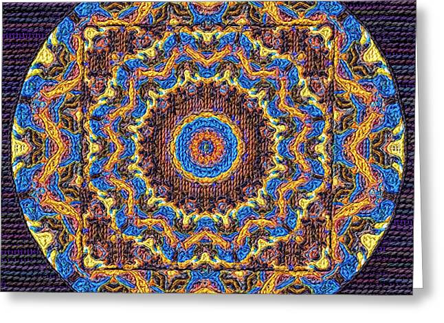 Tapestry Wool Greeting Cards - Coloriage Mandalas Embroidery Greeting Card by Victor Gladkiy