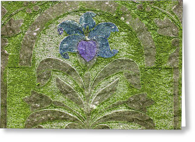 Final Resting Place Greeting Cards - Colorized Moss Covered Gravestone  Greeting Card by Jean Noren