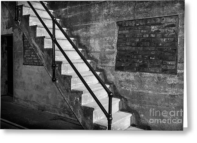 Fort Casey Greeting Cards - Colorless Stairs Greeting Card by Ken Andersen