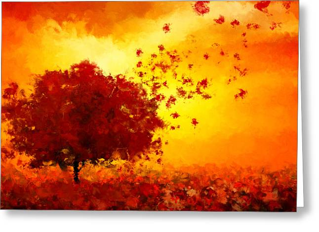 Red Maple Trees Greeting Cards - Colors Hymn Greeting Card by Lourry Legarde
