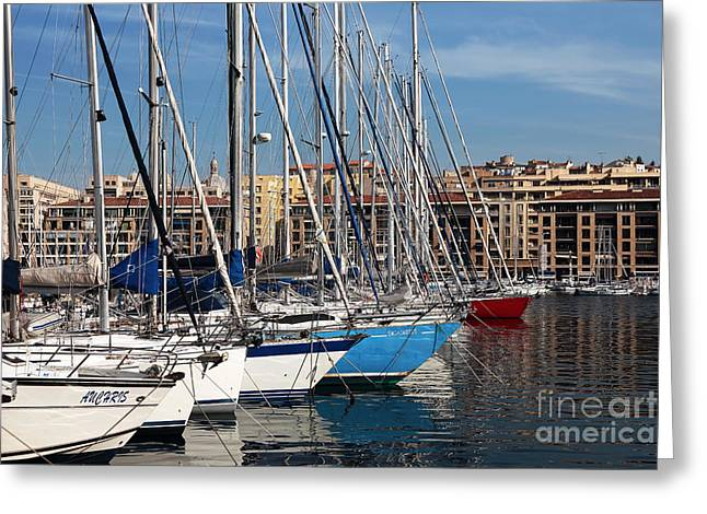 Blue Sailboat Greeting Cards - Colors in the Port Greeting Card by John Rizzuto
