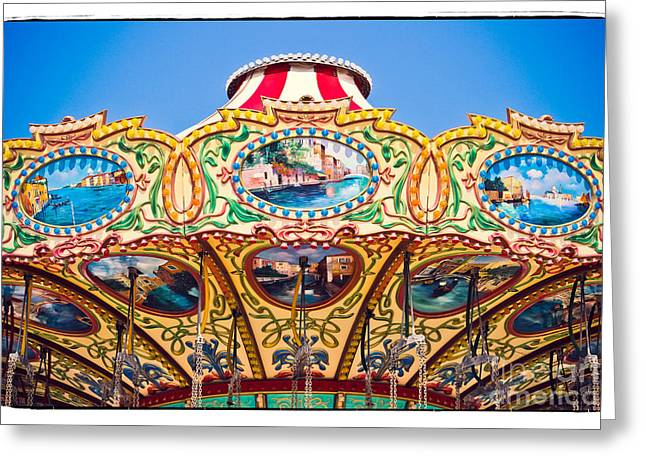 Casino Pier Greeting Cards - Colors of a Carousel Greeting Card by Colleen Kammerer