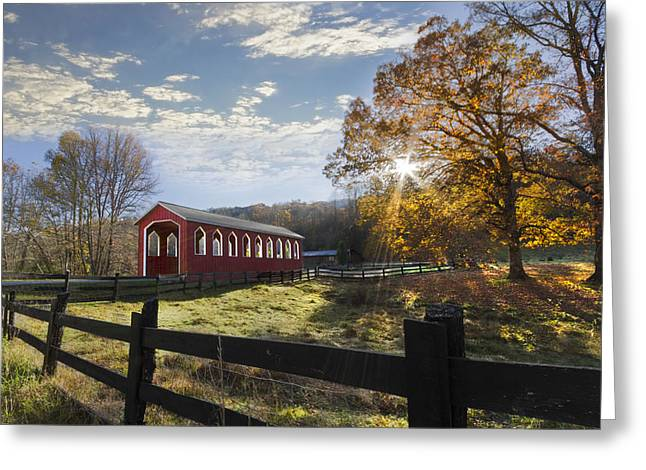Fencing Greeting Cards - Colors Of Autumn Greeting Card by Debra and Dave Vanderlaan
