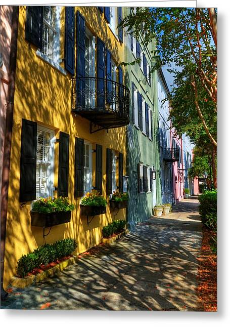 Rainbow Row Greeting Cards - Colors Of Charleston 3 Greeting Card by Mel Steinhauer