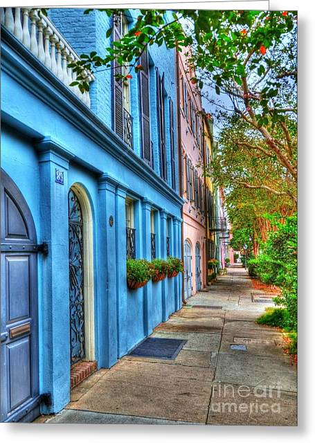 Rainbow Row Greeting Cards - Colors Of Charleston 4 Greeting Card by Mel Steinhauer