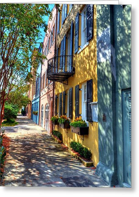 Rainbow Row Greeting Cards - Colors Of Charleston 5 Greeting Card by Mel Steinhauer