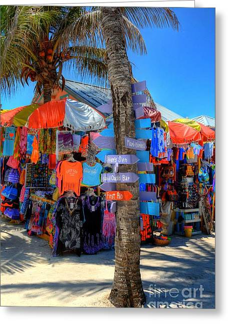 Blue Sky And Sand Greeting Cards - Colors Of Coco Cay 1 Greeting Card by Mel Steinhauer