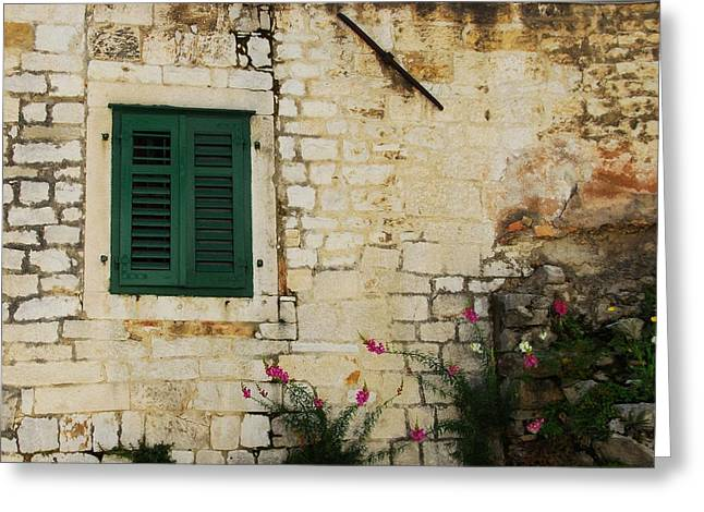 Wooden Shutter Greeting Cards - Colors Of Croatia 2 Greeting Card by Mel Steinhauer