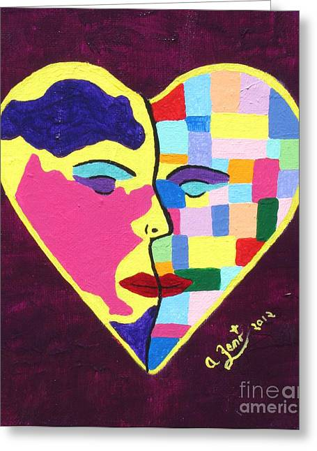 Recently Sold -  - Inner Self Paintings Greeting Cards - Colors Of Love Third In The Women Series Greeting Card by Annie Zeno