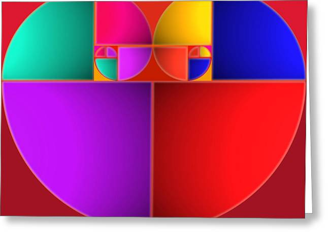 De Stijl Greeting Cards - Colors of Love Greeting Card by Charles Stuart