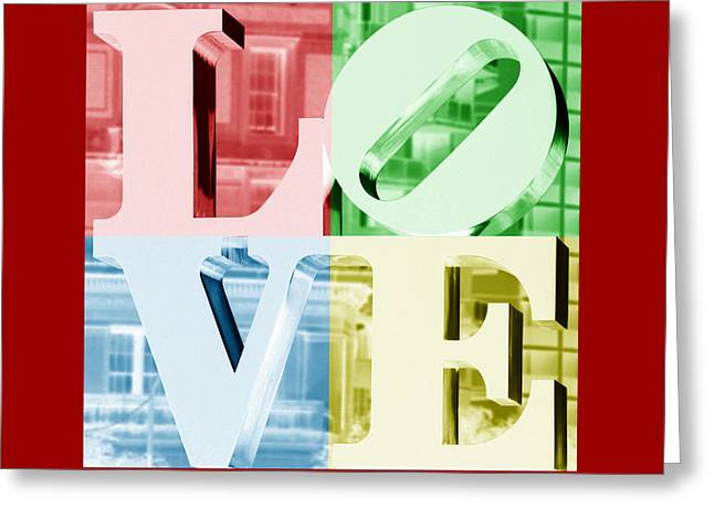 Love Sculpture Greeting Cards - Colors of LOVE Philadelphia PA Greeting Card by Terry DeLuco