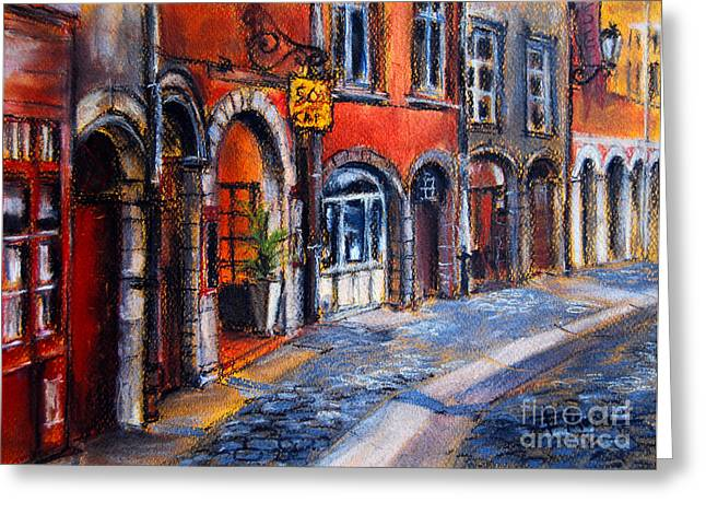 Red Buildings Pastels Greeting Cards - Colors Of Lyon 2 Greeting Card by Mona Edulesco