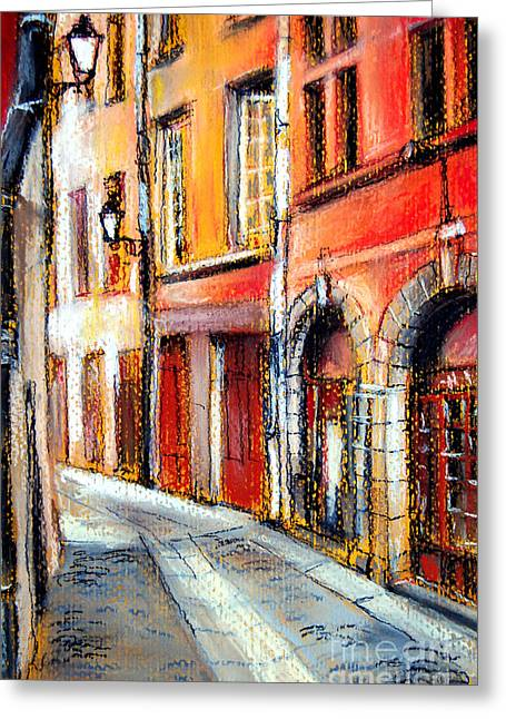 Red Buildings Pastels Greeting Cards - Colors Of Lyon 3 Greeting Card by Mona Edulesco