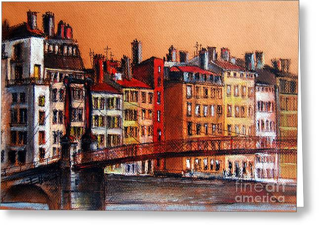 Urban Buildings Pastels Greeting Cards - Colors Of Lyon I Greeting Card by Mona Edulesco