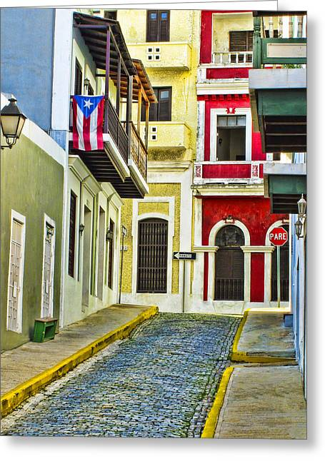 Best Sellers -  - Old Street Greeting Cards - Colors of Old San Juan Puerto Rico Greeting Card by Carter Jones