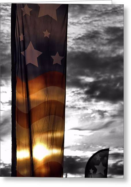 National Anthem Greeting Cards - Colors Of Our Flag At Sunset Greeting Card by Dan Sproul