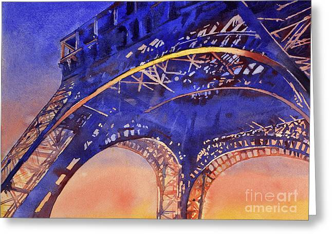 Watercolor Society Greeting Cards - Colors of Paris- Eiffel Tower Greeting Card by Ryan Fox