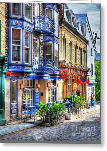 Window Signs Greeting Cards - Colors Of Quebec 15 Greeting Card by Mel Steinhauer