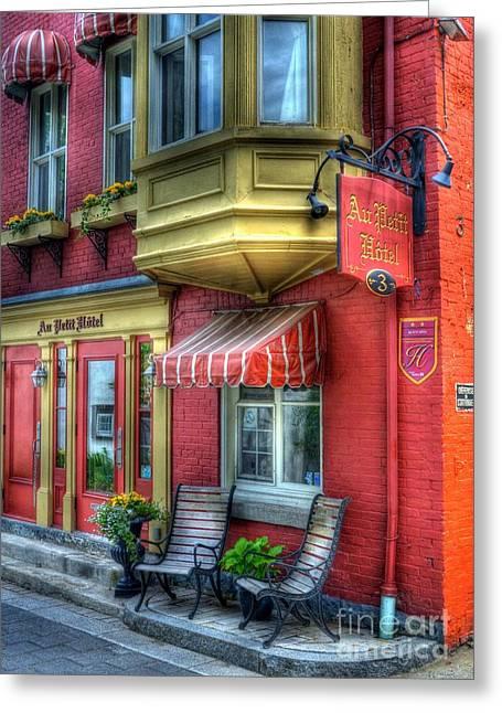 Hotel Window Greeting Cards - Colors Of Quebec 4 Greeting Card by Mel Steinhauer
