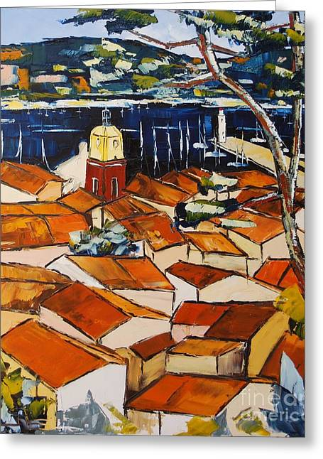 Red Wine Prints Greeting Cards - colors of roofs to Saint Tropez Greeting Card by Atelier De  Jiel