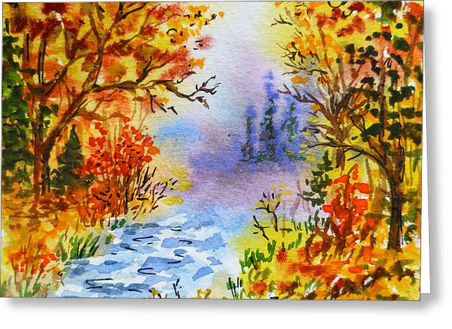 Winter Travel Paintings Greeting Cards - Colors Of Russia Autumn  Greeting Card by Irina Sztukowski