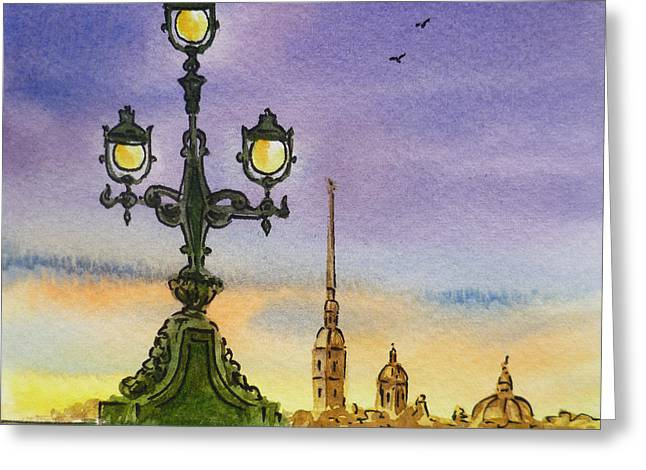 Winter Travel Paintings Greeting Cards - Colors Of Russia Bridge Light in Saint Petersburg Greeting Card by Irina Sztukowski