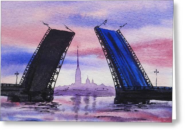 Colors Of Russia Bridges of Saint Petersburg Greeting Card by Irina Sztukowski