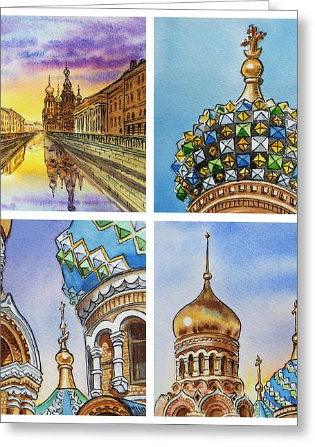 Winter Travel Paintings Greeting Cards - Colors Of Russia Church of Our Savior on the Spilled Blood  Greeting Card by Irina Sztukowski