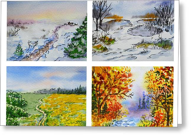 Winter Travel Paintings Greeting Cards - Colors Of Russia Four Seasons Greeting Card by Irina Sztukowski