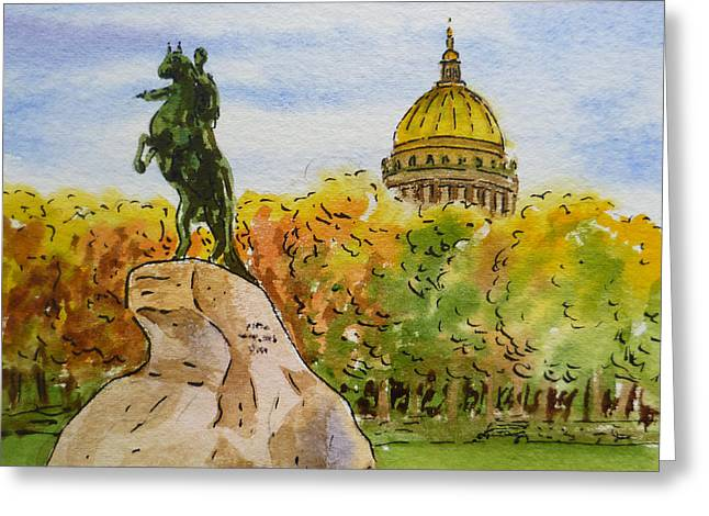 Winter Travel Paintings Greeting Cards - Colors Of Russia Monuments of Saint Petersburg Greeting Card by Irina Sztukowski