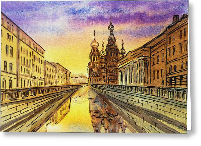Winter Travel Paintings Greeting Cards - Colors Of Russia St Petersburg Cathedral I Greeting Card by Irina Sztukowski