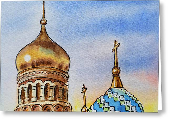 Winter Travel Paintings Greeting Cards - Colors Of Russia St Petersburg Cathedral IV Greeting Card by Irina Sztukowski