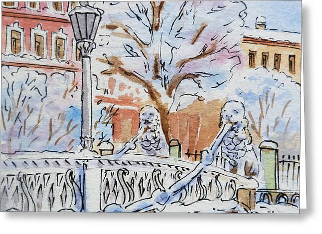 Winter Travel Paintings Greeting Cards - Colors Of Russia Winter in Saint Petersburg Greeting Card by Irina Sztukowski