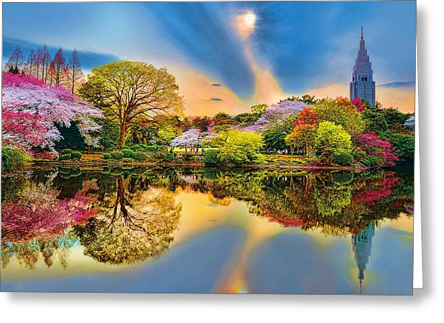 Flower Blossom Greeting Cards - Colors of Spring Greeting Card by Midori Chan