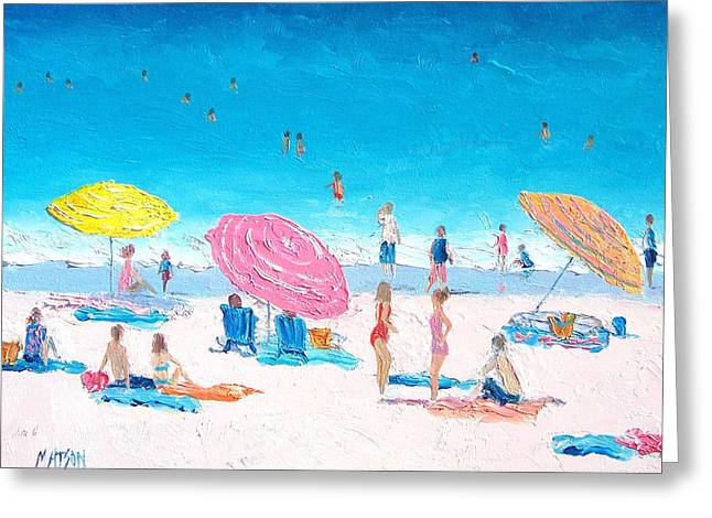 People On Beach Greeting Cards - Colors of Summer Greeting Card by Jan Matson