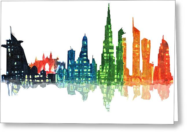 Contemporary Night Scape Greeting Cards - Colors of the City Greeting Card by Art Tantra