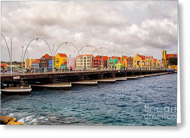 Rene Triay Photography Greeting Cards - Colors of Willemstad Curacao and the Foot Bridge to the City Greeting Card by Rene Triay Photography