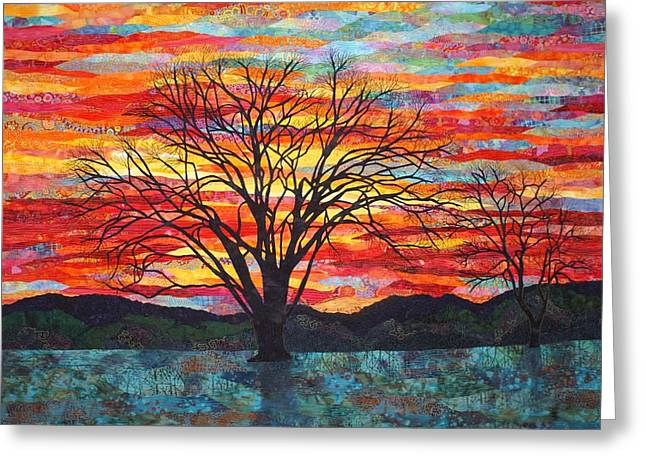 Sunset Tapestries - Textiles Greeting Cards - Colors of Winter Greeting Card by Lenore Crawford