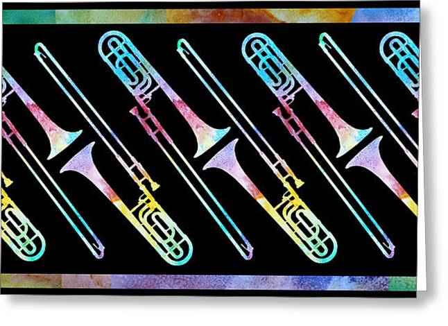 Trombone Greeting Cards - Colorwashed Trombones Greeting Card by Jenny Armitage
